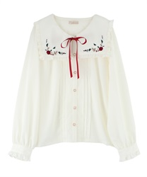 "Fruit Embroidery Sailor Collar Blouse with ""Removable Ribbon"""