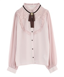 Ribbon Yoke Design Lacey Blouse(Pale pink-Free)