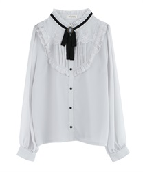 Ribbon Yoke Design Lacey Blouse(Grey-Free)