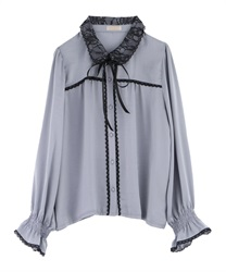 Lace Collar Blouse(Grey-M)