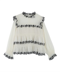 Embroidery Tiered Blouse(Ecru-Free)