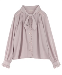 Message Embroidery Bowtie Blouse(Pale pink-M)