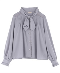 Message Embroidery Bowtie Blouse(Grey-M)