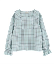 Plaid blocking blouse(Green-Free)