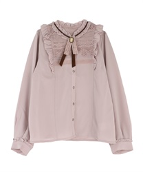 Vintage blouse with brooch(Pale pink-M)