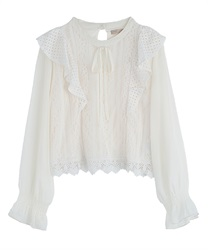 【2Buy10%OFF】Lace Frill Blouse(Ecru-Free)