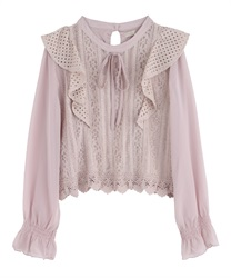 【2Buy10%OFF】Lace Frill Blouse(Pale pink-Free)