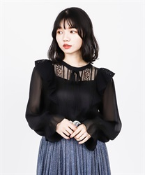 【2Buy10%OFF】Lace Frill Blouse(Black-Free)