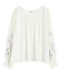 Tulle Blouce Pullover with Flower Embroidery(Ecru-Free)