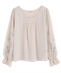 Tulle Blouce Pullover with Flower Embroidery(Pale pink-Free)