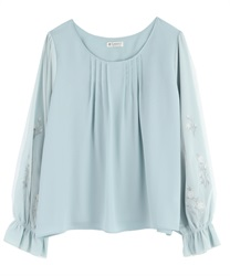 Tulle Blouce Pullover with Flower Embroidery(Green-Free)