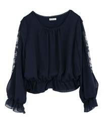 Tulip Print Sleeve Pullover(Navy-Free)