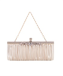 Satin Pleated clutch BAG(Beige-M)