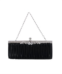 Satin Pleated clutch BAG(Black-M)