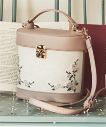 Canvas×synthetic leather bag(Pale pink-M)