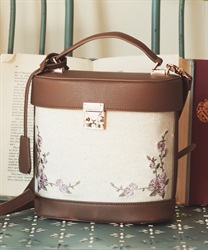 Canvas×synthetic leather bag(Brown-M)