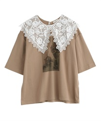 【2Buy20%OFF】Lace Collar Photo pt T-Shirt(Mocha-Free)
