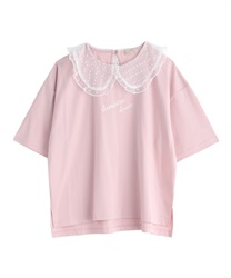 Organza Dot Collar T-Shirt(Pale pink-Free)