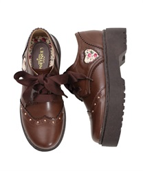 Wingtip Shoes with Floral Patterned Heart Patch(Brown-S)