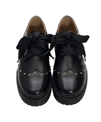 Wingtip Shoes with Floral Patterned Heart Patch(Black-S)