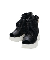 Lace-up Boots Sandals(Black-M)