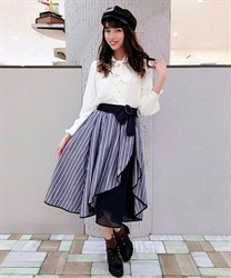 Striped Wrap Design Skirt with Ribbon Belt(Blue-Free)