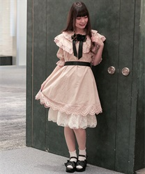 【2Buy20%OFF】Cotton dole dress(Pale pink-Free)