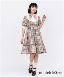 Country-style plaid dress(Green-Free)