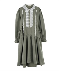 Drop Waist Dress with Lace Collar and Side Ribbons(Green-Free)