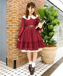 [Special item] EmbroideryCollar tuck dress(Wine-Free)