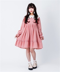 [Special item] EmbroideryCollar tuck dress(Pale pink-Free)