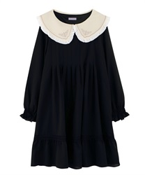 [Special item] EmbroideryCollar tuck dress(Black-Free)
