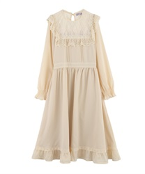 [Special item] Lace blocking long dress(Cream-Free)
