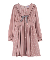 【2Buy20%OFF】Message Embroidery Sailor Collar Dress(Pale pink-Free)