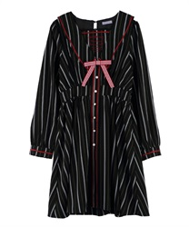 【2Buy20%OFF】Message Embroidery Sailor Collar Dress(Black-Free)