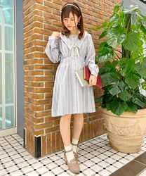 【2Buy20%OFF】Message Embroidery Sailor Collar Dress(Lavender-Free)