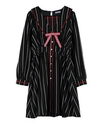 【2Buy20%OFF】Message Embroidery Sailor Collar Dress