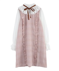 "Plaid Volum Frill Dress with ""Removable Ribbon""(Pale pink-Free)"