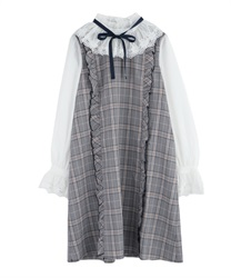 "Plaid Volum Frill Dress with ""Removable Ribbon""(Navy-Free)"