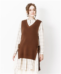 Lace-up knit vest(Brown-Free)