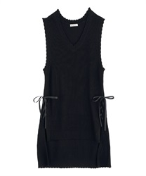 Lace-up knit vest(Black-Free)