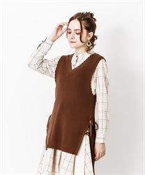 Lace-up knit vest