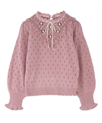Rose embroidery knit pullover(Pale pink-Free)