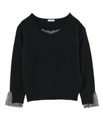 【MAX70%OFF】Angola Mixed Knit with Sweetheart Shaped Design(Black-Free)