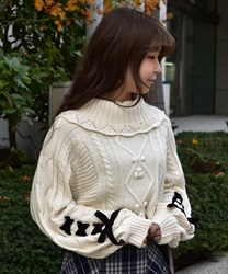 SleevesLace up knit pullover(Ecru-Free)