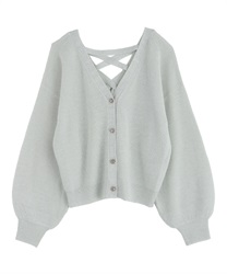 Back Lace Up Knit Cardigan(Grey-Free)