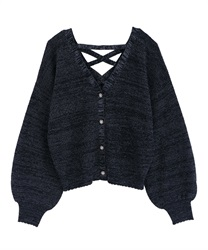 Back Lace Up Knit Cardigan(Navy-Free)