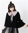 Knit cape with fur tippet(Black-Free)