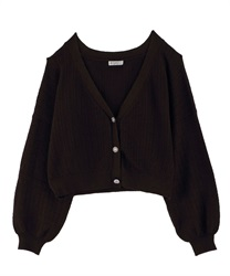 Knit cardigan_FN161X10(Brown-Free)