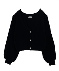 Knit cardigan_FN161X10(Black-Free)